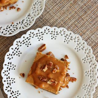 Gingerbread Praline Cheesecake Bars with Gingersnap Pecan Crust.