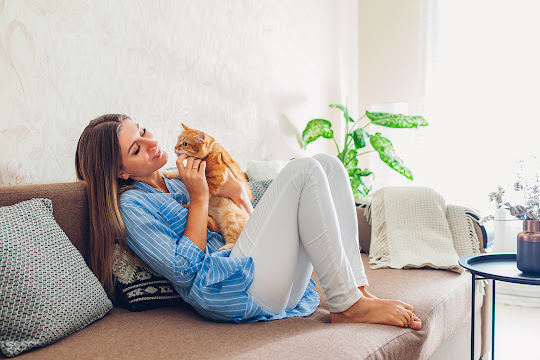 Woman on a brown couch with orange cat