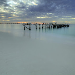 Jurien Bay by Steve Hatton - Landscapes Waterscapes ( white sand beach, coastal western australia., australia, broken jetty, sea, beach, seascape, jetty, beach scape, jurien bay, coastal australia, western australia )