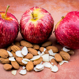 Apples and Almonds by Helen Nickisson - Food & Drink Fruits & Vegetables ( red, starts with a, sliced, healthy, whole, almonds, apples )