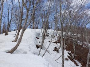 徳平山への登り(雪が溶け)