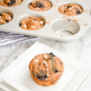 High Protein Blueberry Almond Muffins.