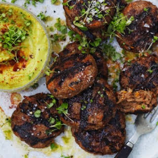 Beef Rissoles With Avocado Sauce.