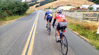 Photo: Riding with Mike (blue) and Joel Sothern from Petaluma to Valley Ford at about mile 100.