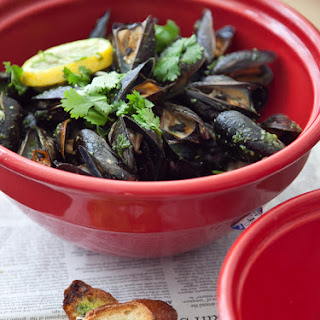Baked Mussels w/ Cilantro Butter.