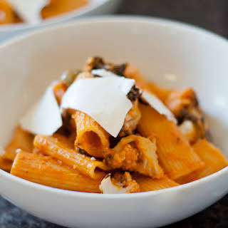 Rigatoni with Roasted Cauliflower and Spicy Tomato Sauce.