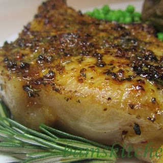 Rosemary Herbed Pork Chops with Shallot Wine Sauce.