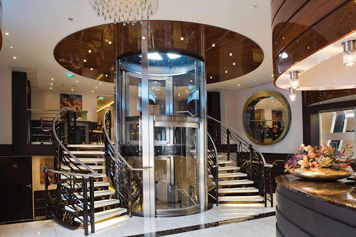 The elegant lobby of the AmaSerena river ship.