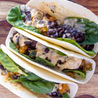 Butternut Squash Portobello Tacos with Garlic Sage Cream Sauce #SundaySupper.