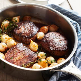 Sauteed Beef Medallions with Pearl Onion Red Wine Sauce.