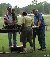 Photo: Caleb Roberts (yellow HALS Shirt) and Dennis Cranston (blue shirt) running Gauge 1 steamers   HALS 2009-0919