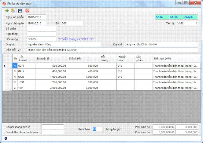 Phiếu chi phần mềm kế toán 3tsoft