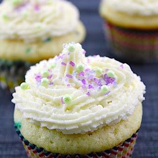 Confetti Cupcakes with Champagne Custard Filling and Vanilla Champagne Buttercream.