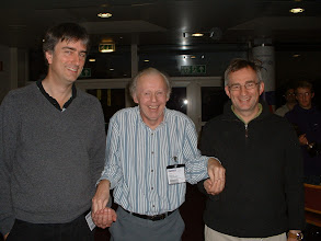 Photo: Richard Haydon of Brown Jack and Sven Ziedler of Nationwide receive the 2011 Wiltshire Rapidplay Team Tournament Individual runners-up prize money from the Wiltshire County Chess Association Tournament Secretary Tony Ransom.