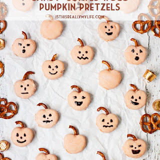 Candy-Coated Rolo Pretzel Pumpkins.