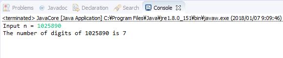 Java - Đếm số lượng chữ số của số nguyên dương n
