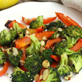Roasted Broccoli and Red Peppers with Almonds Recipe