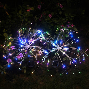 Lampa solara artificii cu suport metalic, 100 LED, multicolor