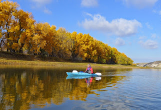 Photo: This is Kelli in her 12-ft kayak. She put some of her gear in the larger vessels used by others in the group.