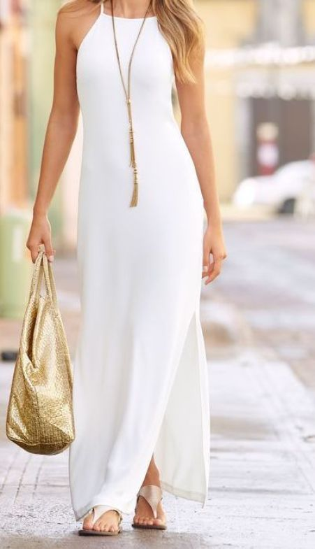 dress with a statement neck piece