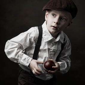 Let's play ball by Jan Kraft - Babies & Children Child Portraits ( vintage baseball boy ball old clothing style portrait )