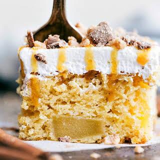 Caramel Apple Toffee Poke Cake.