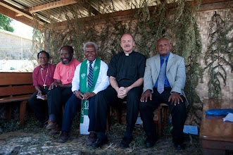 Photo: Rev John Mehl with pastors of the Gutnius Lutheran Church in Papua New Guinea.