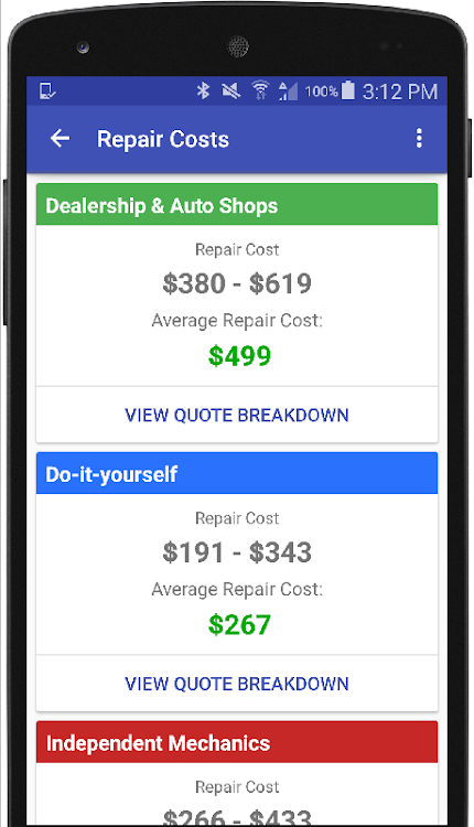 Auto Repair Estimates >> Auto Repair Estimate Car Quote Android Apps Appagg