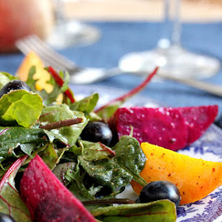 Roasted Beet Salad with Blueberries and Mustard Dressing