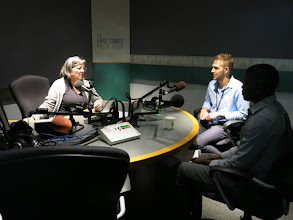 Photo: CBC Information Morning's Louise Renault interviews Hakim Ibrahim (right) and ALP instructor Mark Devereux, who nominated Hakim for the Gary Mason Learner Achievement Award.