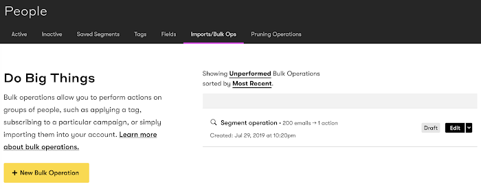 Unperformed bulk operations page