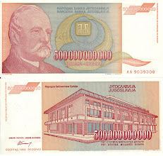 Photo: Jovan Jovanovic Zmaj, 500000000000 Yugoslavian Dinar (1993). This note is now obsolete. Zmaj was not a physicist or mathematician, but a children's poet.