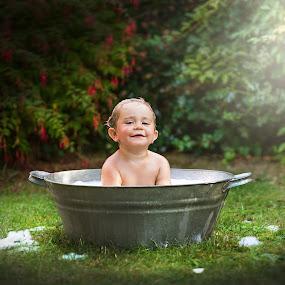Bathtube..  by Piotr Owczarzak - Babies & Children Children Candids ( child, summer, childhood, fun, cute, garden )