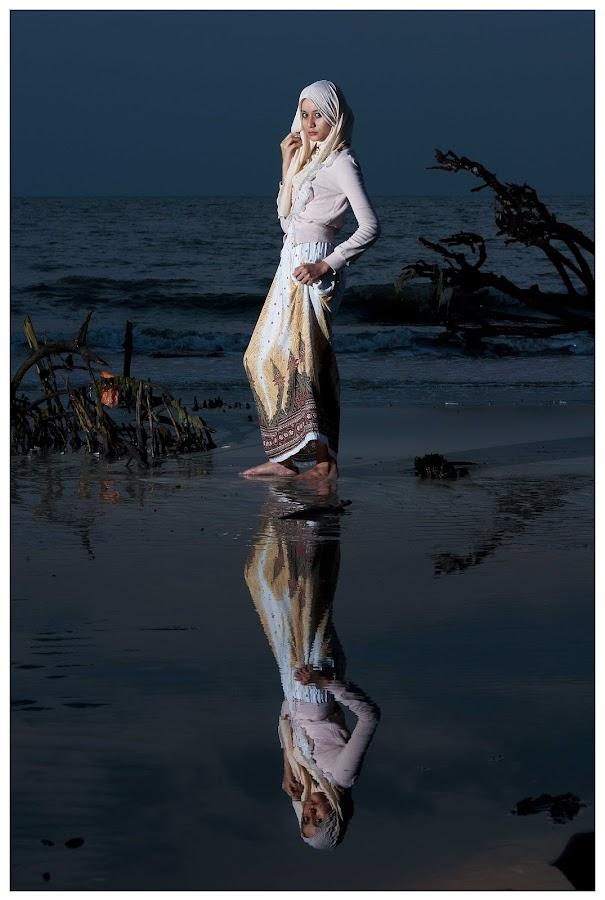 Puteri in Reflection by Chal Siden - People Portraits of Women ( reflection, chal siden, model, chal, sunset, puteri, portrait )
