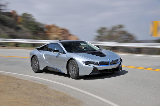 A BMW i8 Coupé in action