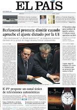 Photo: Berlusconi se compromete a dejar el poder cuando se aprueben los ajustes italianos. El PP propone un canal único de televisiones autonómicas. Otros temas, en nuestra portada http://www.elpais.com/static/misc/portada20111109.pdf