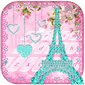 Diamond Eiffel Tower Pink Paris Keyboard