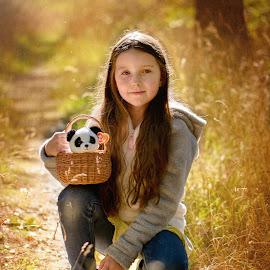 With panda in the basket by Jiri Cetkovsky - Babies & Children Child Portraits ( panda, pet shop, bear, girl, portrait )