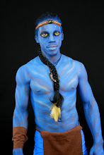 Photo: Close-up image of our Avatar model Body Paint by Paola from http://www.BestPartyPlanner.net