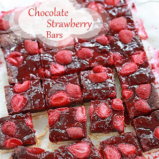 Chocolate Fudge Roasted Strawberry Cookie Bars.