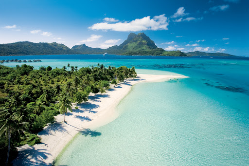 Bora Bora: Palm trees fringed sandy beaches on a private motu