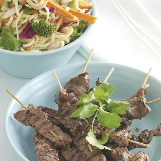 Beef Skewers with Satay Noodles.