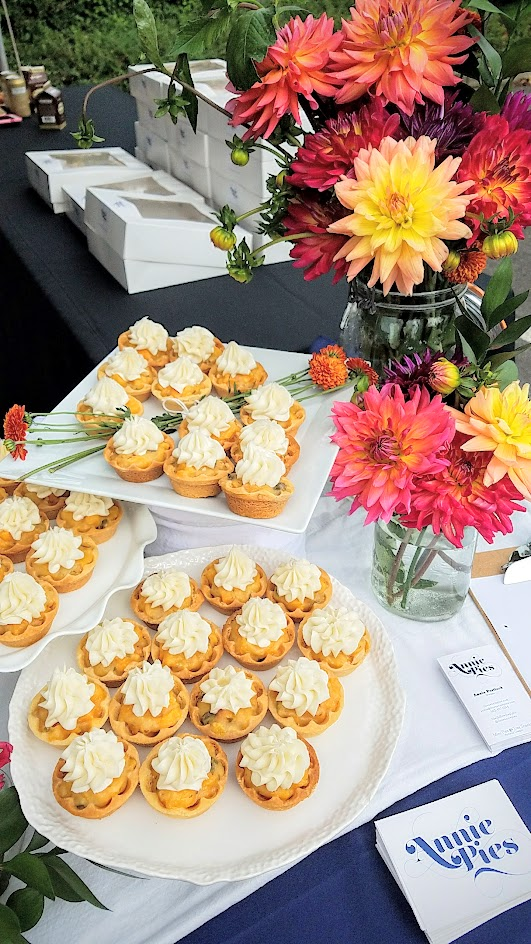 Annie Portlock of Annie Pies offered 3 mini pies at Feast PDX 2016 Go Get You Some Picnic: this is Peach Julep (gingersnap crust, minty peach filling, Kentucky bourbon white chocolate mousse)
