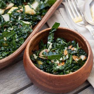 Kale Salad With Pear, Toasted Almonds And Aged Gouda