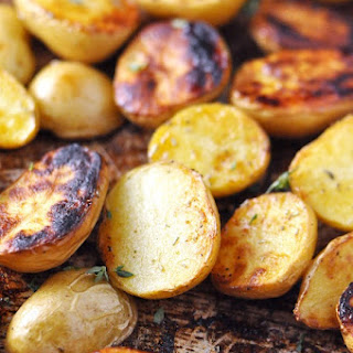 Roasted Salt 'n' Vinegar Baby Potatoes with Rosemary & Thyme.