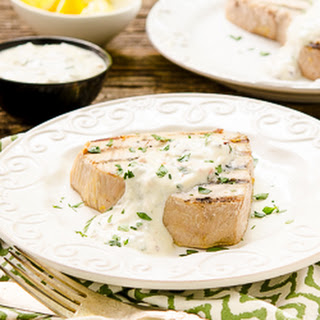 Grilled Tuna with Mediterranean Yogurt Sauce