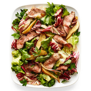 Warm Chicory Steak Salad with Agrodolce Dressing.