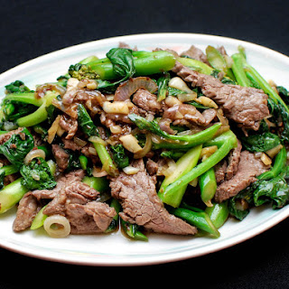 Stir-Fried Beef With Chinese Broccoli.