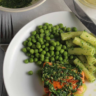 Salmon with Parsley Pesto and Peas Recipe