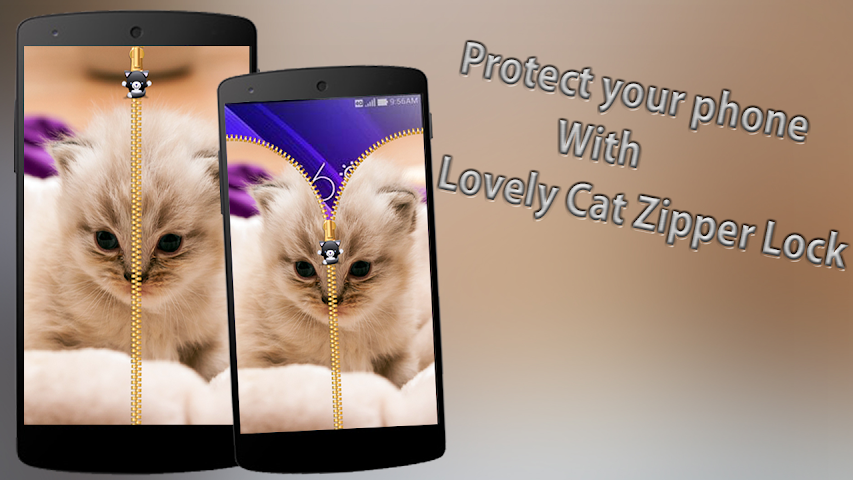 android Lovely Cat Zipper Lock Screenshot 0